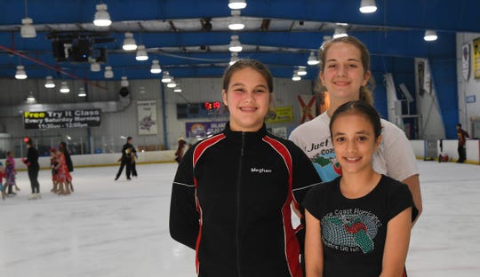 Three of many skaters heading to competition. Meghan Ferris, 13, Danielle Tullo, 10, and Raina Freeman, 15.Space Coast Hurricanes Theatre on Ice teams practicing at Space Coast Iceplex in Rockledge for a 4:30pm Saturday June 15th performance. In late June, many of these skaters will head to Alabama for national competition.