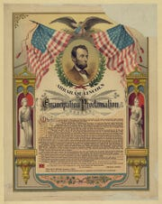 A print of Abraham Lincoln and his Emancipation Proclamation published in 1888 by The Strobridge Lithography Company in Cincinnati.