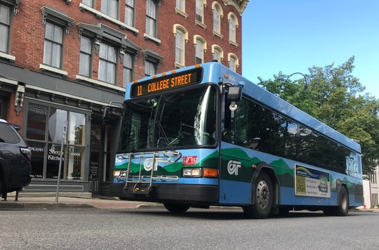 The College Street Shuttle bus operated by Green Mountain Transit travels east (uphill) on Friday, June 14, 2019.