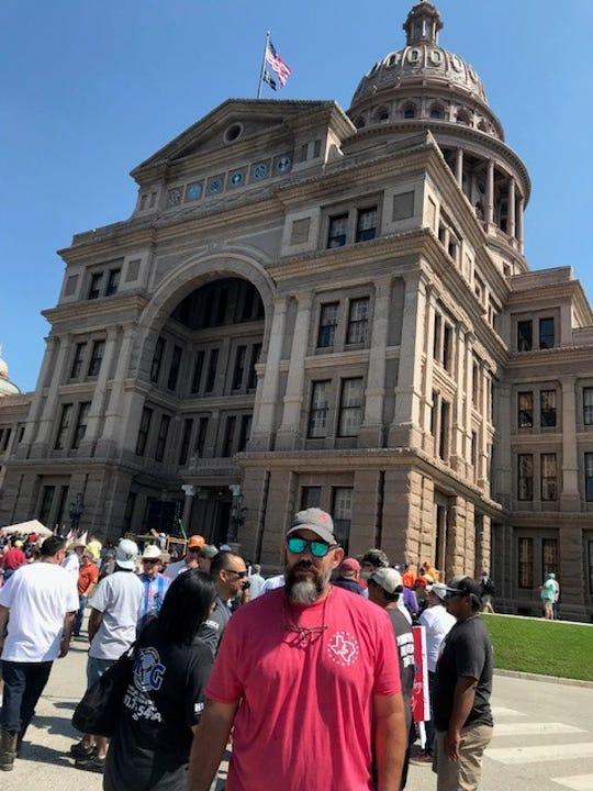 San Angelo plumber Slater Chapa at the rally at the Texas Capitol, June 14, 2019.