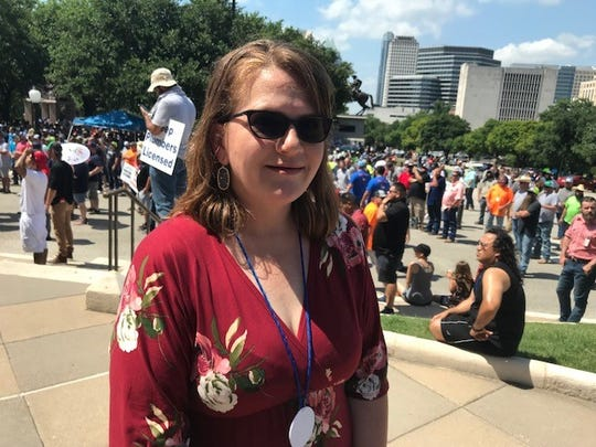 Mary Conger, one of the plumbers rally organizers, at the Texas Capitol, June 14, 2019.