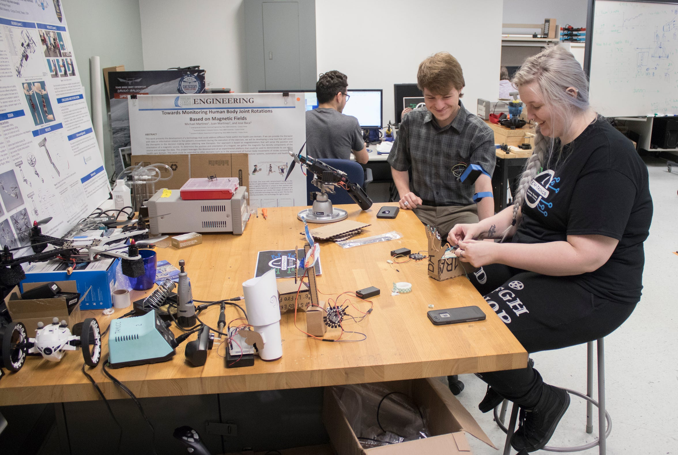 Engineering students work on their projects at Texas A&M University Corpus Christi.