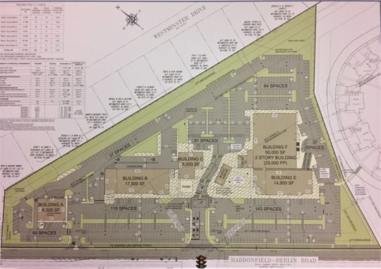 A rendering shows the proposed layout of the Shoppes at Voorhees.