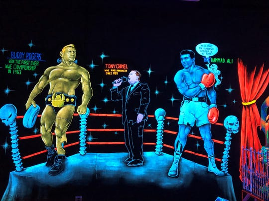 Artwork at Monster Mini Golf in Cherry Hill pays tribute to celebrities with local ties, including onetime Cherry Hill resident Muhammad Ali.