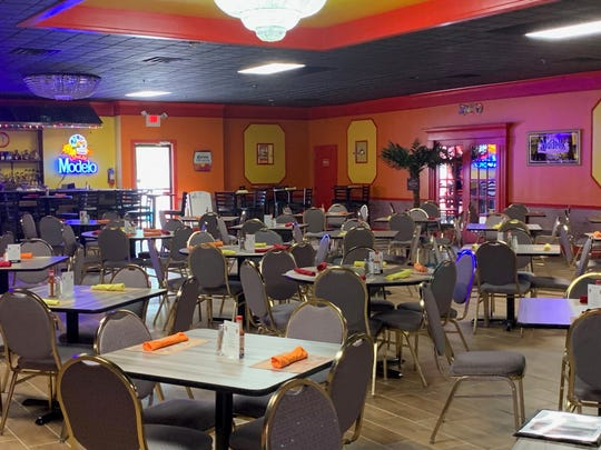 The interior of Los Jalapenos Mexican Bar & Grill is awash with bright colors and features a full bar and private banquet room.