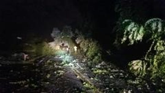 Trees and debris are seen in Gloucester Township after a Thursday night storm.  Several roads were closed Friday and Blackwood Elementary was closed because of a storm. Meanwhile, a tornado was confirmed in Mullica Hill, said the National Weather Service in Mount Holly.