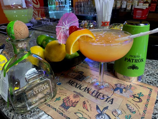A Mexican Sunset Margarita is a popular choice at the Los Jalapenos Bar & Grill bar.