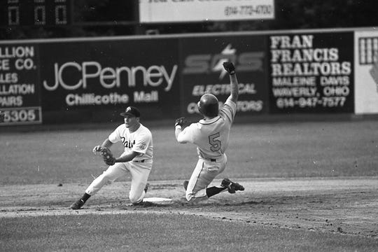 Chillicothe Paints second baseman Damon Treadway, left, awaits a throw as Dave Montiel slides during game one of a doubleheader with Lancaster. In June 1994, the Paints played a doubleheader against the Lancaster Scouts. They won 3-0 and 6-1, despite committing seven errors.