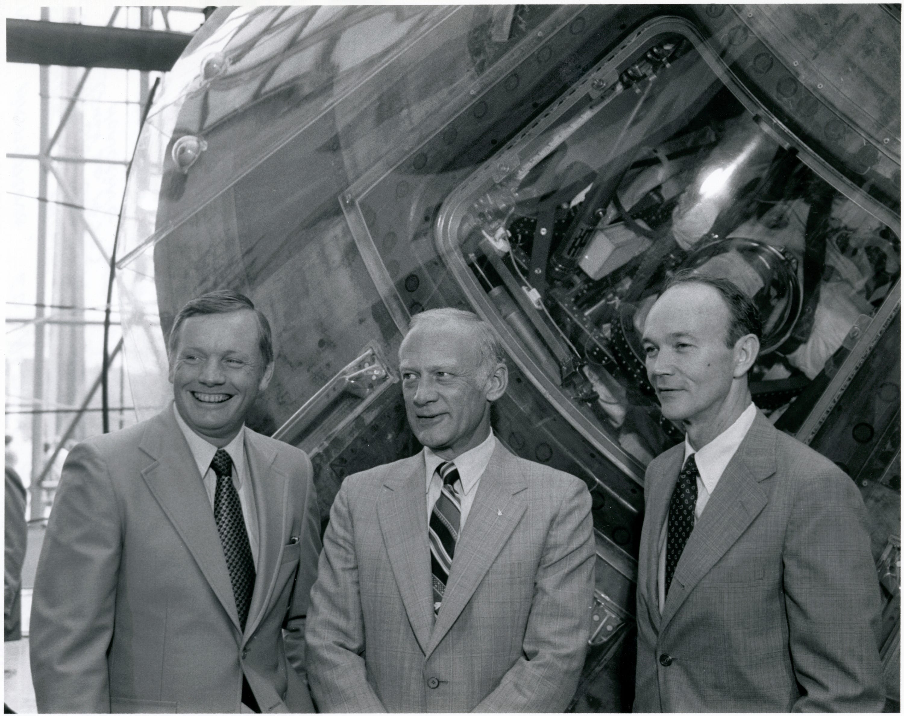 Apollo 11 astronauts Neil Armstrong, Buzz Aldrin and Michael Collins pose in front of the Columbia at the National Air and Space Museum in 1979.