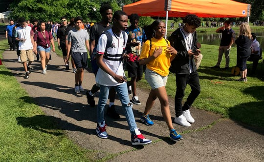 Linden High School students take part in the walkathon at Wilson Park.