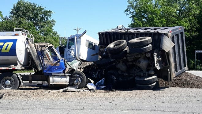 Two semi trucks collided, injuring both drivers, about 9:41 a.m. Friday at the intersection of U.S. 36 and Ohio 541.