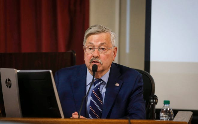 Former Iowa Gov. and current ambassadorto China Terry Branstad gives testimony on Thursday, June 13, 2019, at the Polk County Courthouse in Des Moines.