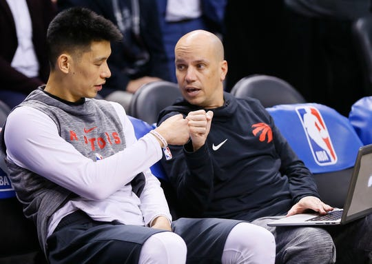 Toronto Raptors guard Jeremy Lin (left) and assistant coach Nate Bjorkgren prior to the game against the Los Angeles Lakers on March 14, 2019, at Scotiabank Arena in Toronto.