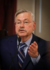 Former Iowa Gov. and current ambassador to China Terry Branstad gives testimony on Friday, June 14, 2019, at the Polk County Courthouse in Des Moines.