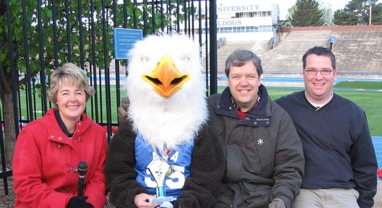ACA Eagle photo The Ankeny Christian Academy Eagle, aka senior Aaron Colyer, won the Drake Relays Mascot Race held Tuesday in Des Moines. The Eagle is shown with his trophy and from left, Bonnie Lucas, Van Harden, and Mark Allen, all of WHO Radio, which sponsored the event. Colyer received the t-shirts and tickets to the Relays for his efforts in this 2005 photo.