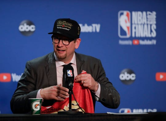 Toronto Raptors head coach Nick Nurse speaks at a news conference after the Raptors defeated the Golden State Warriors in Game 6 of basketball's NBA Finals in Oakland, Calif., Thursday, June 13, 2019.