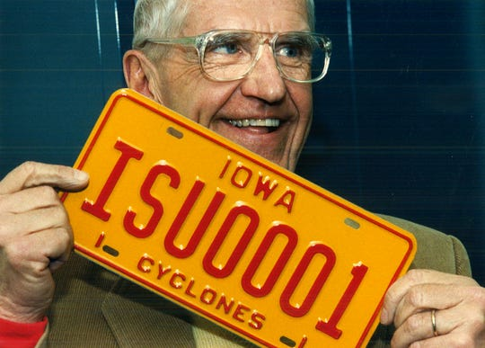 From 1989: Ed Cunningham of Des Moines holds the first Iowa State University license plate issued in Iowa. #Cyclones