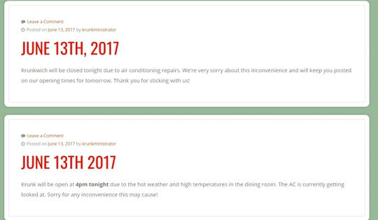 On the Krunkwich website, posts were made about the restaurant closing due to a broken air conditioner.