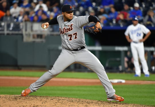 Joe Jimenez throws in the eighth inning against the Royals on Wednesday.