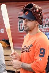 Nicholas Castellanos readies for batting practice at TD Ameritrade Park Omaha on Thursday.