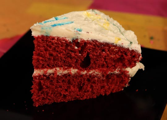 Red velvet cake for a birthday on May 1, 2019, in St. Louis.