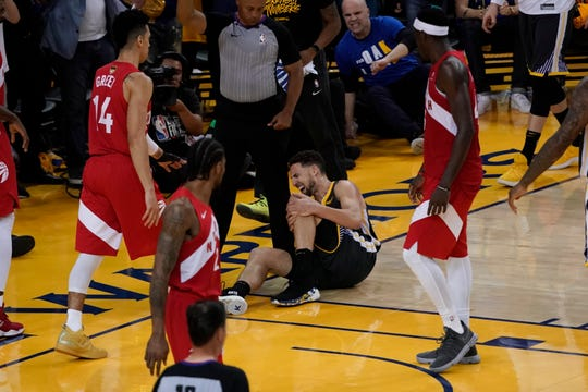 Golden State Warriors guard Klay Thompson is injured during the second half of Game 6.