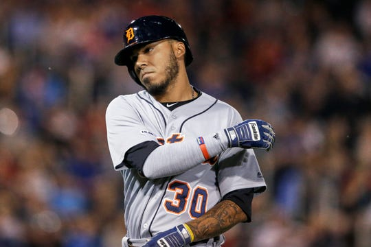 The Detroit Tigers' Harold Castro flies out during the eighth inning Thursday night.
