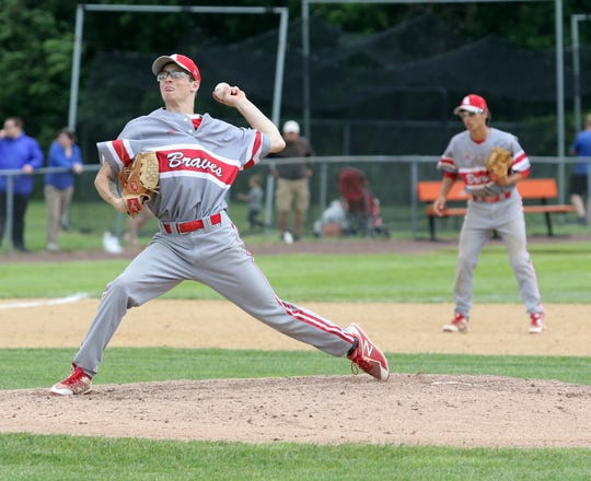 Michael Sculli pitches for Canandaigua against Maine-Endwell in a Class A baseball state semifinal June 14, 2019 at Union-Endicott High School. Maine-Endwell won 5-4.