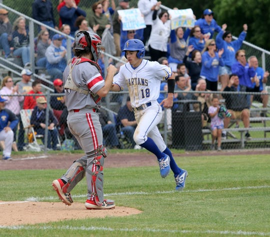 Brody Raleigh of Maine-Endwell comes home for a run during a 5-4 win over Canandaigua in a Class A baseball state semifinal June 14, 2019 at Union-Endicott High School.