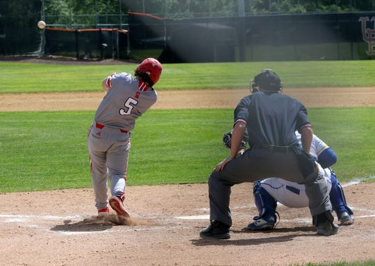 Seth Vigneri connects for a three-run homer for Canandaigua against Maine-Endwell in a Class A baseball state semifinal June 14, 2019 at Union-Endicott High School.
