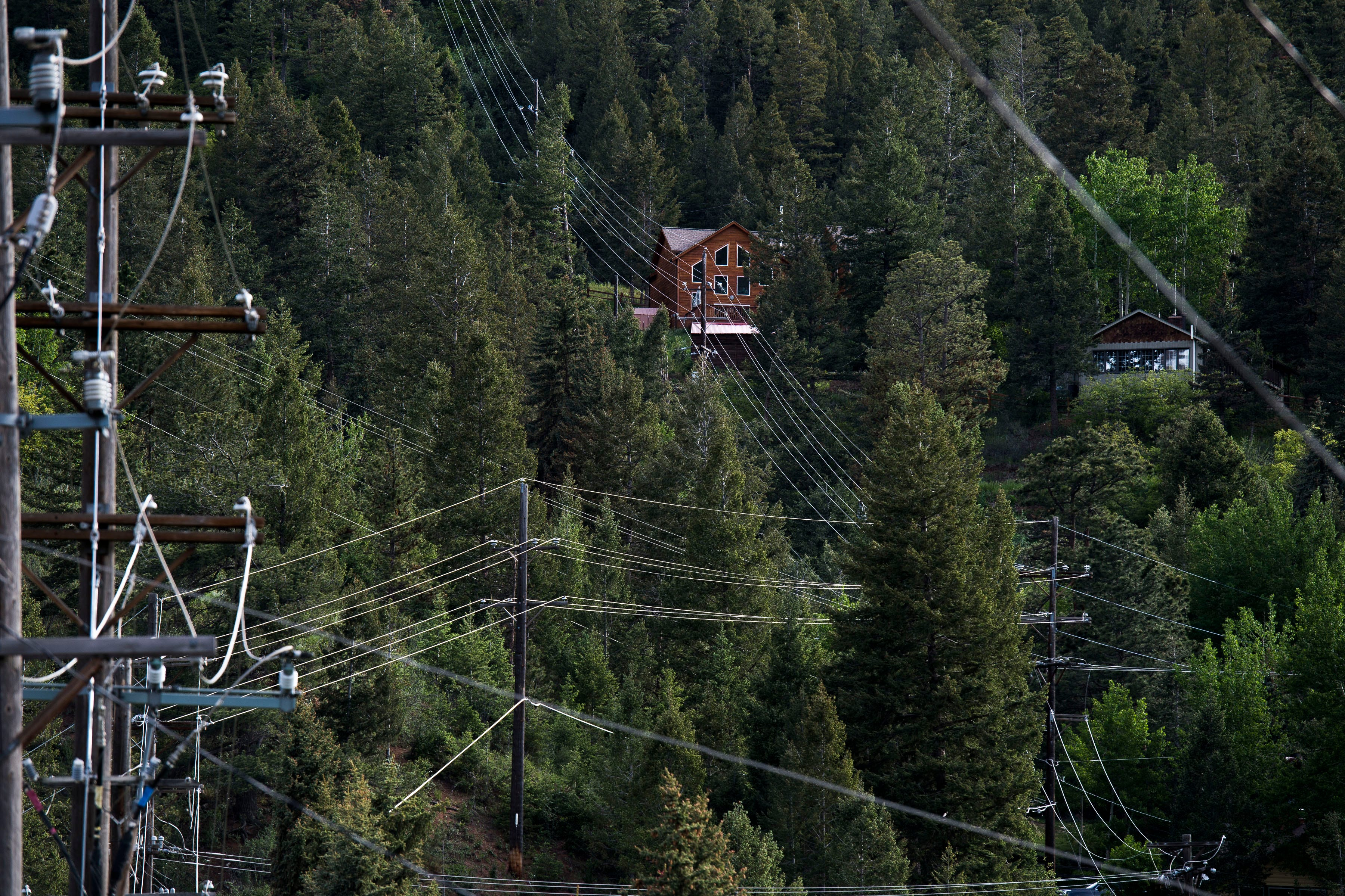 A centrally-located hub of power lines runs to homes in the dense forests  made up primarily of ponderosa pine trees on Thursday, June 12, 2019, in Cascade, Colo.