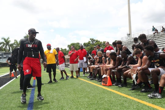Deion Sanders' Prime TRUTH football team played scrimmages against the Lee County All Stars and the Mississippi GRIND at Bishop Verot High School on Friday June, 14, 2019. Sanders is expanding his 7v7 football league to Southwest Florida. Sanders is taking members of the Lee County All-Stars to play in a tournament at IMG Academy in Bradenton.