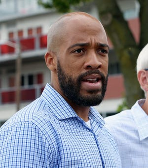 In this Aug. 15, 2018, file photo, Wisconsin Democratic lieutenant governor candidate Mandela Barnes, speaks to reporters at a news conference in Madison, Wis. Milwaukee treasurer's office records show Lt. Gov. Mandela Barnes is delinquent on property taxes.