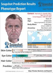 A computer generated sketch of the likely suspect in the 1976 murders of David Schuldes and Ellen Matheys at McClintock Park in northern Marinette County. The image of the 65-year-old man was developed by Parabon Nanolabs using DNA collected at the murder scene.