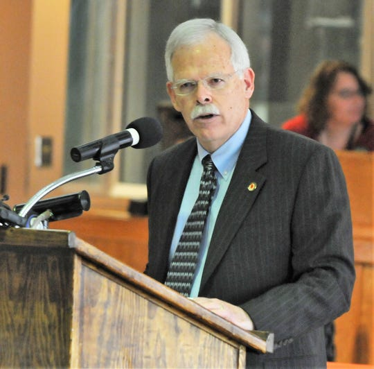 Department of Corrections Secretary Gary Hamblin, seen in a 2011 photo speaking at an event in Oshkosh while he was secretary of the Wisconsin Department of Corrections.