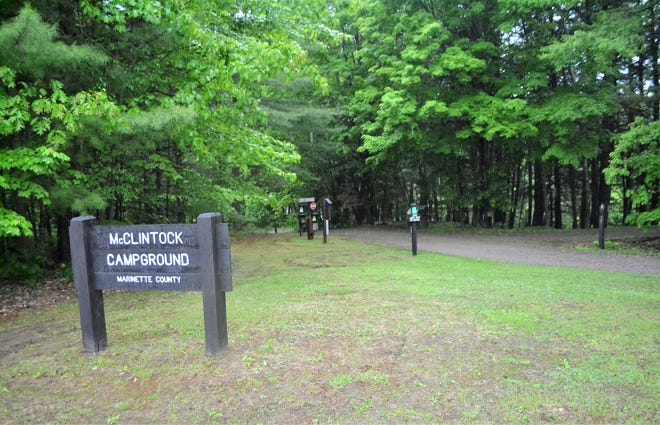 The entrance to the campground in McClintock Park in the Marinette County town of Silver Cliff, where David Schuldes and Ellen Matheys were shot to death on July 9, 1976. Raymand Vannieuwenhoven, an 82-year-old man from northern Oconto County, was arrested in March and charged with their murders.