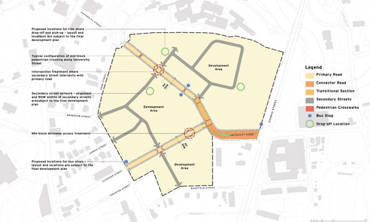 "A ""vehicular connectivity diagram"" that RocaPoint Partners submitted as part of a zoning application for their University Ridge redevelopment project in Greenville shows University Ridge rerouted across the property and connecting directly to the traffic circle in front of the South Carolina Governor's School for the Arts and Humanities."