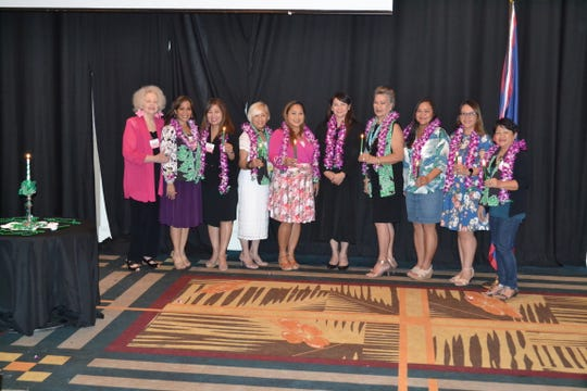 Guam Women's Club announces the 2019-2020 board members. Installation took place at their general membership meeting held May 31 at Sheraton Laguna Resort by Judge Maria Cenzon. Pictured from left: Rosemarie Cruz, past president/lifetime member; Caroline H. Sablan, immediate past president; Leo Jordanou, president/lifetime member; Annie Duenas, vice president; Angie Gibbons, corresponding secretary; Judge Maria Cenzon; Al Payne, recording secretary; Delisa Kloppenburg, treasurer; Rebecca Perez, member at large; Divina Evaristo, member at large.