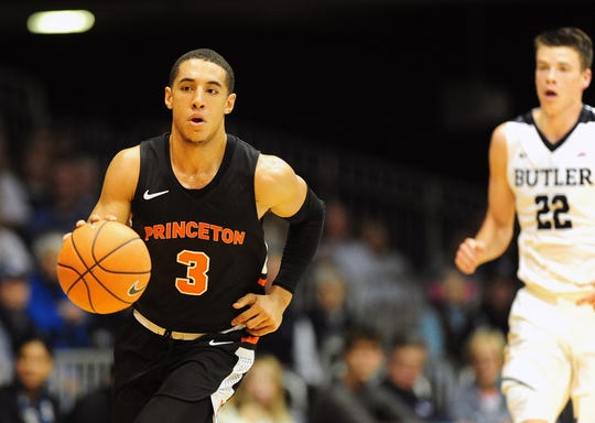 Nov 12, 2017; Indianapolis, IN, USA; Princeton Tigers guard Devin Cannady (3) brings the ball down court in the second half against the Butler Bulldogs at Hinkle Fieldhouse.