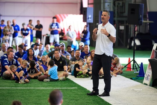 Colts coach Frank Reich speaks during the All-Pro Dad event on June 8.