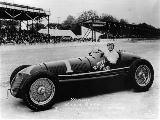 This 1940 photo shows Wilbur Shaw in the No. 1 Boyle Special after winning his second consecutive Indianapolis 500.