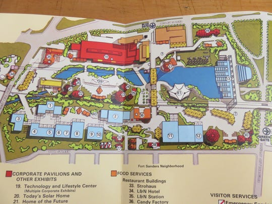 Part of foldout map of 1982 World's Fair attractions.