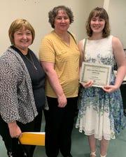 Sarah Bieber, student at Columbus College of Art & Design, receives the James and Viola Wayland Scholarship.