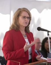 State Sen. Lana Theis, a Brighton Republican, expressed concerns about residents at nursing homes, on Wednesday. Theis is shown at the dedication ceremony for the Sergeant Donald Burgett Post Office in Howell, Friday, June 14, 2019.