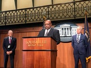 Dwayne Clark (center) speaks as he is introduced as new Louisville Metro Corrections director. June 14, 2019