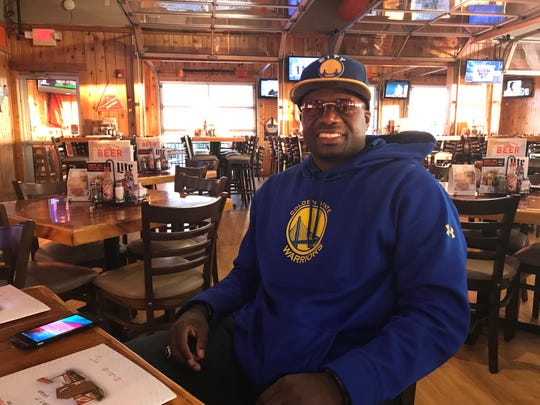 Jeremiah McLaurin, a former MSU defensive back in the early 2000s, is decked out in his Golden State gear for Game 6 of the NBA Finals. Like many others, he became a Warriors fan when Saginaw's own Draymond Green joined the West Coast team.