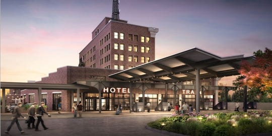 Rendering of the exterior of Central Station Hotel. The hotel is set to open Fall 2019.