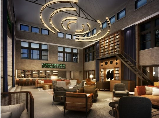 Rendering of lobby bar in Central Station Hotel. General Manager Jeremy Sadler said the hotel hopes to attract Memphians with the historic site.
