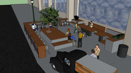 A rendering of the seasonal beer patio set to open at the Milwaukee Public Market.