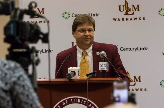 Scott McDonald addresses the audience during the press conference announcing him as the new athletic director at University of Louisiana at Monroe in Monroe, La. on June 14.